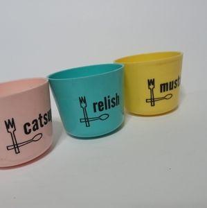 Condiment cups vintage colorful kitchen decor